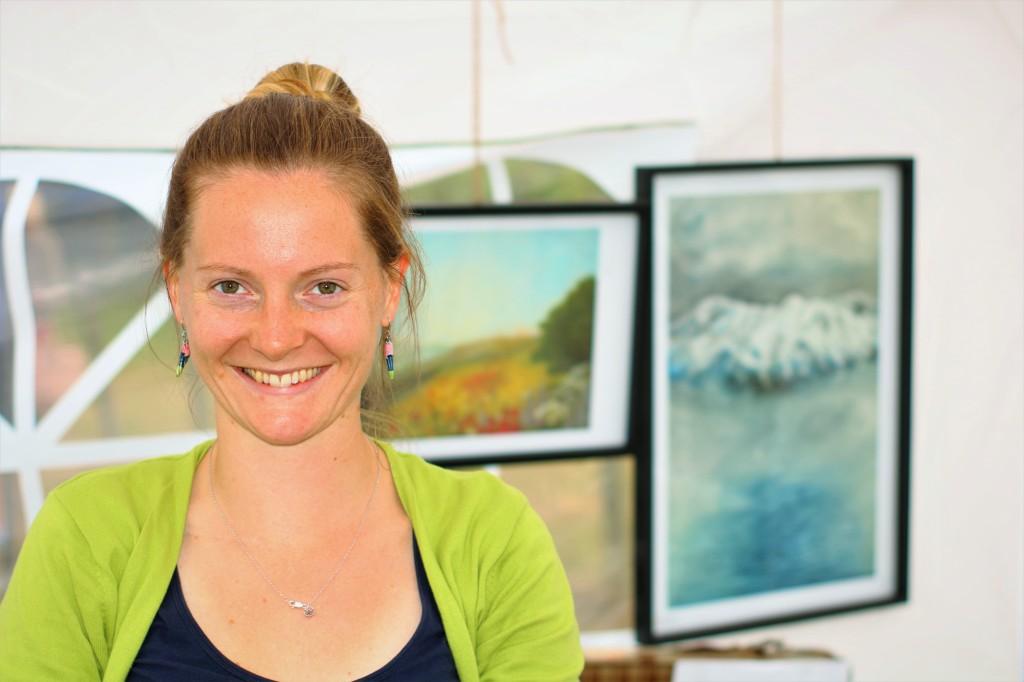 Rosy at her art market, Martinborough Fair, New Zealand by Sam Davis Portrait Marketing Photographer