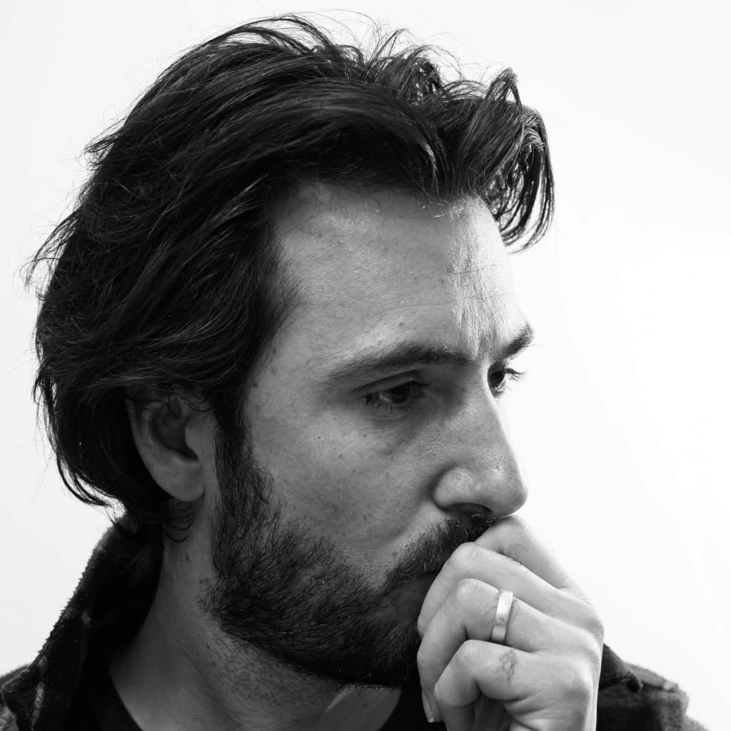 Sam Davis self portrait in the studio by Sam Davis Photographer Black and white