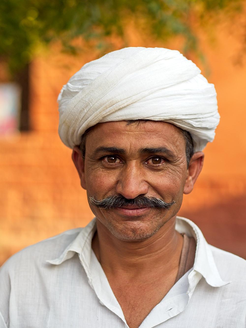 Mr Bishnoi, Rajasthan, India, by Sam Davis Photographer Professional Travel White turban