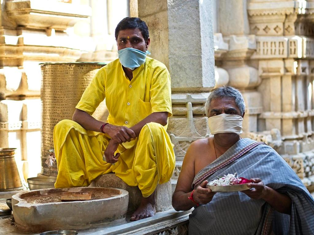 Priests at the Jain Temple, Udaipur, Rajasthan, India by Sam Davis Professional Travel Portrait Photographer