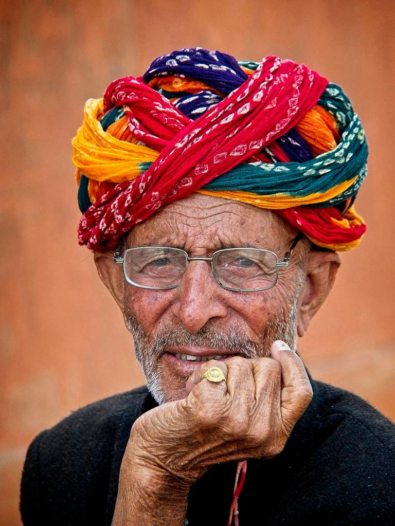 Indian Man in Turban with glasses, Jaipur, India by Sam Davis Professional Travel Portrait Photographer