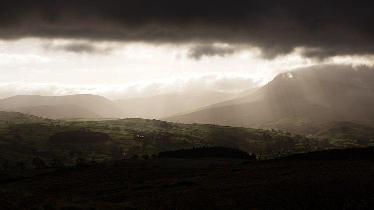 Sun Beams between the Clouds near Bala, Wales, by Sam Davis Professional LandscapePhotographer