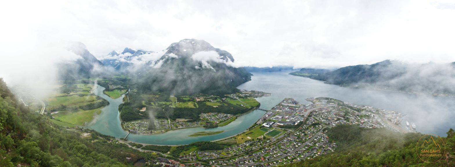 View over Andalsnes from the Rampestreken on Romsdalseggen Ridge, Norway by Sam Davis Photographer