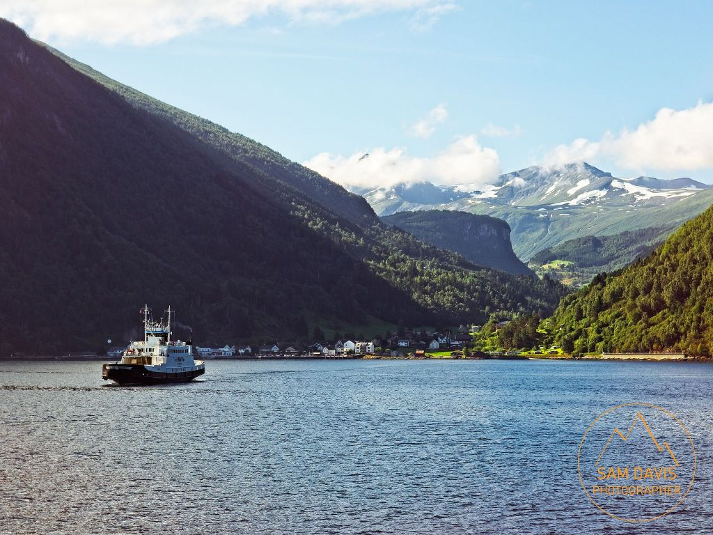 Ferry from Valldal to Eidsdal, looking towards Eidsdal, Norway by Sam Davis Photographer