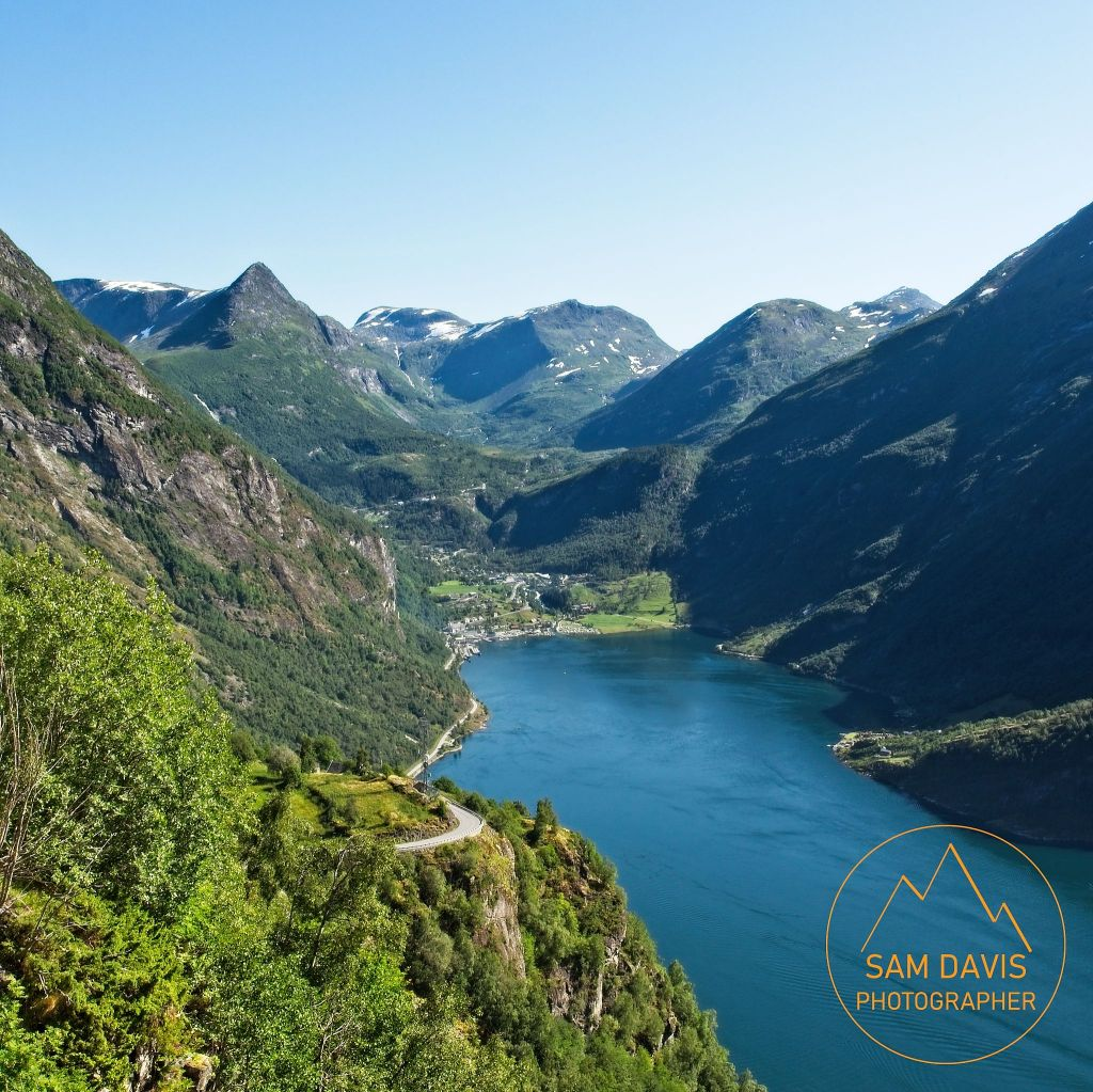 Geiranger Fjord looking towards Geiranger, Norway by Sam Davis Photographer