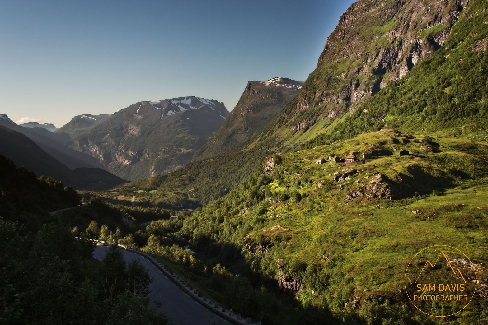Looking back down Geiranger valley on route 63, Norway by Sam Davis Photographer