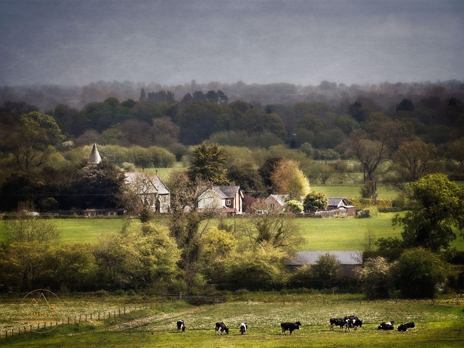 Llandysilio Church and surrounding fields, Four Crosses, Powys, UK. Sam Davis Photographer. www.samsphotogallery.com