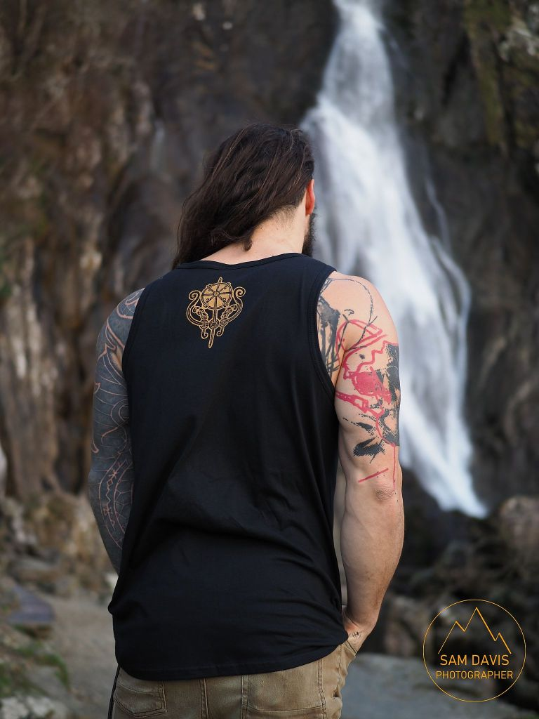 Ed Gamester modelling for Northern Fire at Aber Falls, North Wales, UK. https://www.northernfiredesigns.com/ , www.samsphotogallery.comsFashion Photoshoot. Sam Davis Photographer. Photographer for hire Wales.