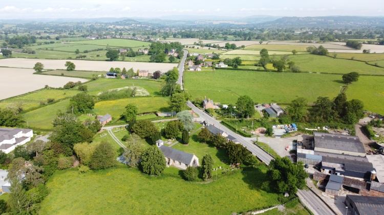 Llandysilio Church, Powys, Wales, Aerial drone photo by Sam Davis Photographer. Operator.