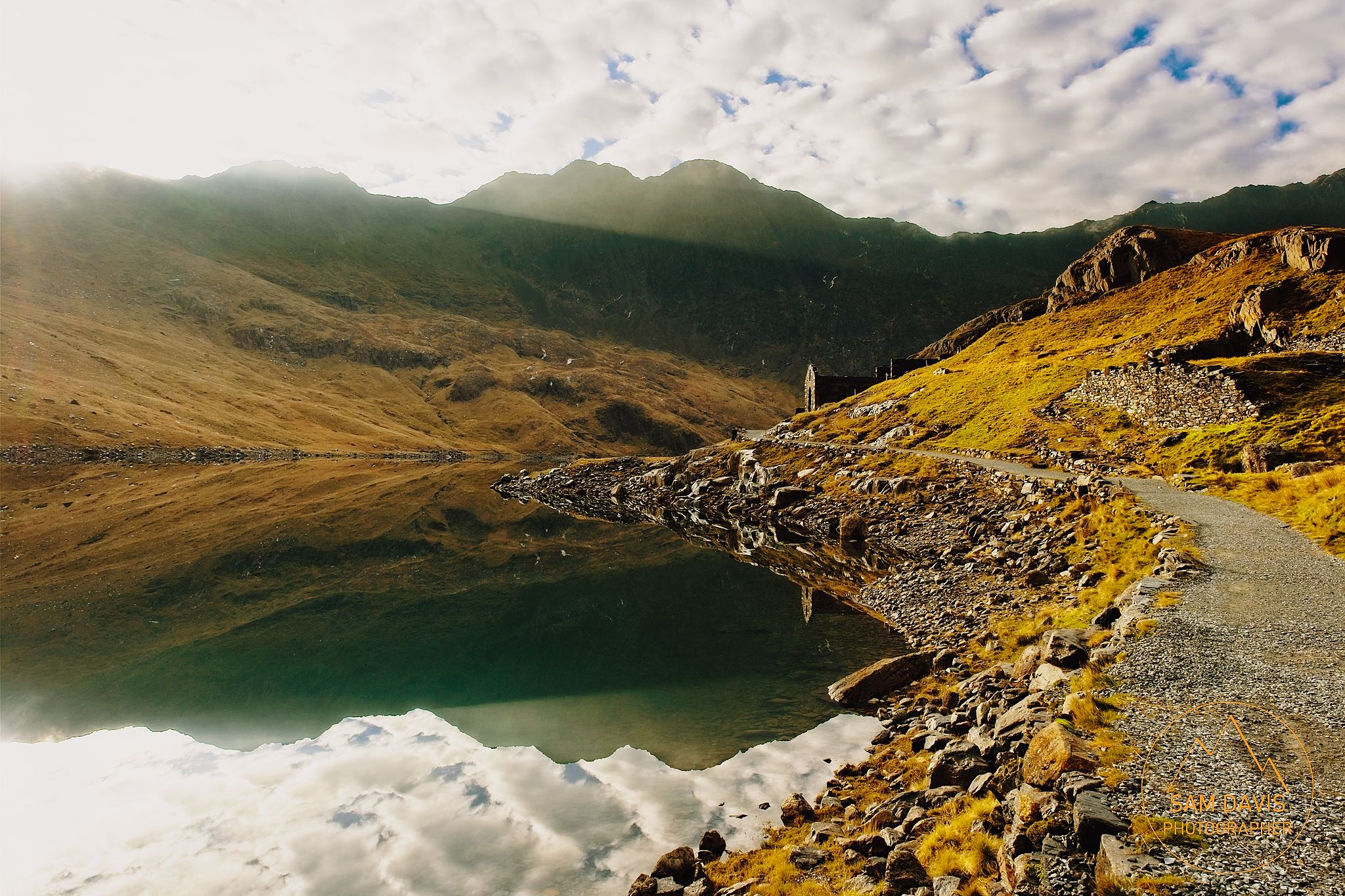 Miners track reflections, Snowdonia, Wales by Sam Davis Landscape Photographer