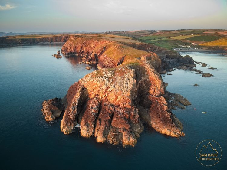 The Hand of St David, Pembrokeshire. Aerial drone photo by Sam Davis Photographer